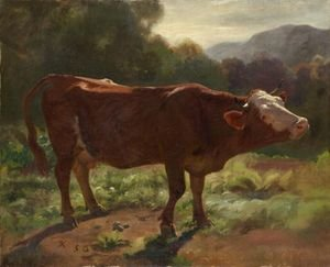 Reproduction oil paintings - Rudolf Koller - Standing Cow In Landscape, 1858