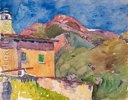 House With Longhino (Maloja) by Giovanni Giacometti - Reproduction Oil Painting