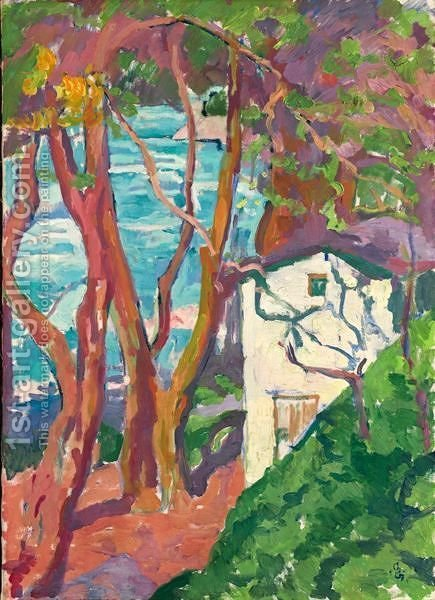 House Below Trees At The Lake Shore, 1917 by Giovanni Giacometti - Reproduction Oil Painting