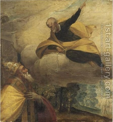 San Pietro Appare A Papa Gregorio XIII In Veste Di San Gregorio Magno by (after) Jacopo Tintoretto (Robusti) - Reproduction Oil Painting