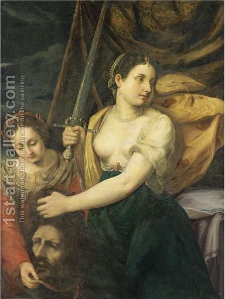 Giuditta Con La Testa Di Oloferne by Italian School - Reproduction Oil Painting
