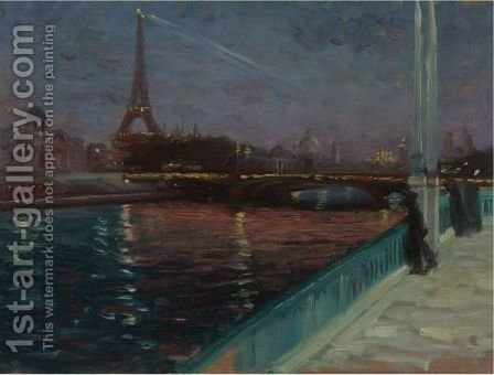 The Eiffel Tower At Night by Alfred Henry Maurer - Reproduction Oil Painting