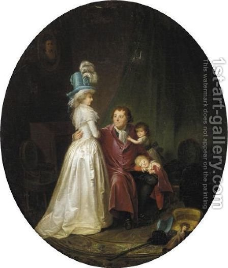 A Family Portrait by (after) Marguerite Gerard - Reproduction Oil Painting