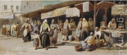 Busy Arab Market Scene by (after) Louis Tesson - Reproduction Oil Painting
