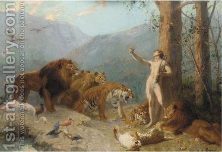 Orpheus Charming The Animals by Gustave Surand - Reproduction Oil Painting
