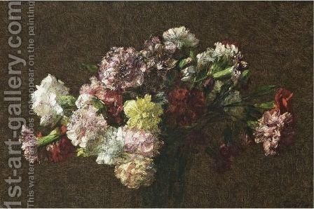 Oeillets 3 by Ignace Henri Jean Fantin-Latour - Reproduction Oil Painting
