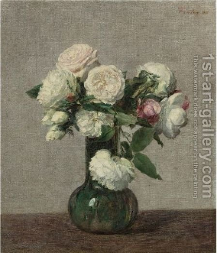 Roses 10 by Ignace Henri Jean Fantin-Latour - Reproduction Oil Painting