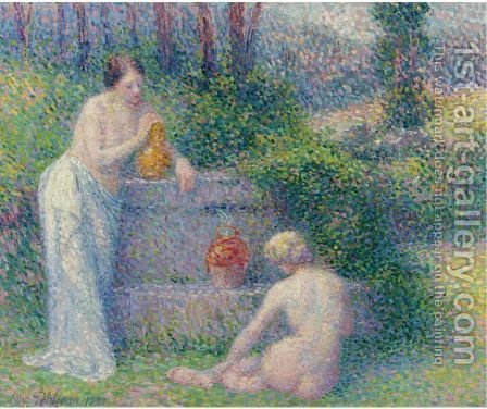 Femmes A La Fontaine by Hippolyte Petitjean - Reproduction Oil Painting