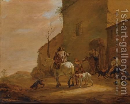 A Landscape With Horsemen Leaving An Inn, Together With Their Dogs, A Man Feeding Other Dogs To The Right by (after) Pieter Boddingh Van Laer - Reproduction Oil Painting