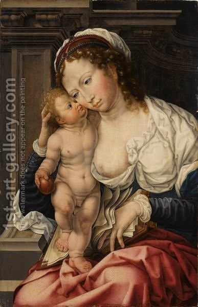 The Virgin And Child 5 by (after) Jan (Mabuse) Gossaert - Reproduction Oil Painting