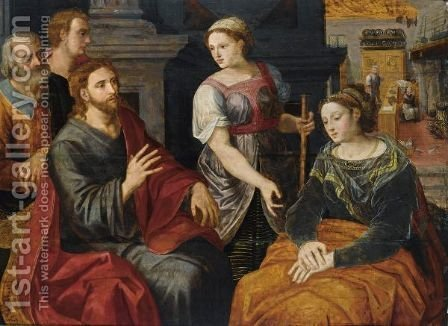 Christ In The House Of Martha And Mary by (after) Willem Adriaensz Key - Reproduction Oil Painting