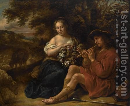 An Elegant Shepherdess Listening To A Shepherd Playing The Recorder In An Arcadian Landschape by Govert Teunisz. Flinck - Reproduction Oil Painting
