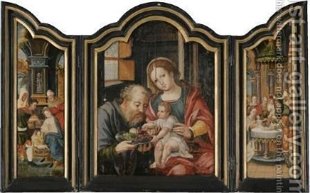 A Triptych - Central Panel The Holy Family - Left Panel The Adoration Of The Shepherds - Right Panel The Circumcision by (after) Pieter Coecke Van Aelst - Reproduction Oil Painting
