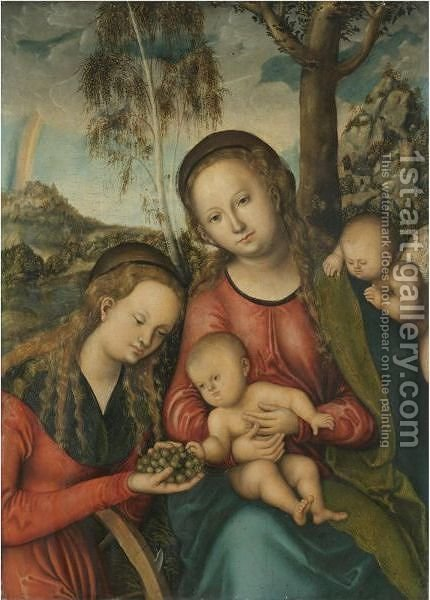 The Virgin And Child With Saint Catherine Holding A Bunch Of Grapes, A Winged Cherub Behind by (after) Lucas The Elder Cranach - Reproduction Oil Painting