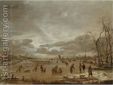 A Winter Landscape With Skaters And Kolf Players On A Frozen River by Aert van der Neer - Reproduction Oil Painting