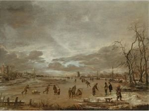 A Winter Landscape With Skaters And Kolf Players On A Frozen River
