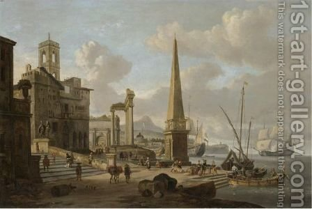 A Capriccio Of A Mediterranean Harbour With Roman Ruins And Men Unloading Cargo In The Foreground by Abraham Storck - Reproduction Oil Painting