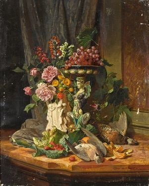 A Still Life With Flowers, Fruit And Game