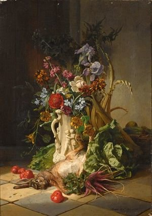 A Kitchen Still Life With Flowers