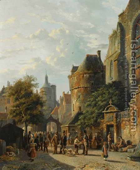 Many Figures On A Market In A Dutch Town by Adrianus Eversen - Reproduction Oil Painting