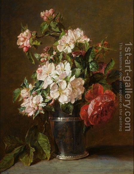 A Still Life Of Roses And Apple Blossom by Adriana-Johanna Haanen - Reproduction Oil Painting