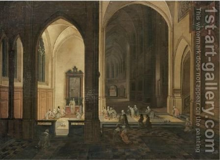 The Interior Of A Gothic Church By Night, With A Priest Conducting A Service In A Side Chapel by (after) Pieter The Younger Neefs - Reproduction Oil Painting
