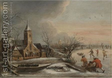 A Winter Scene With Figures Skating A Church In The Distance by (after) Jan Van Kessel - Reproduction Oil Painting