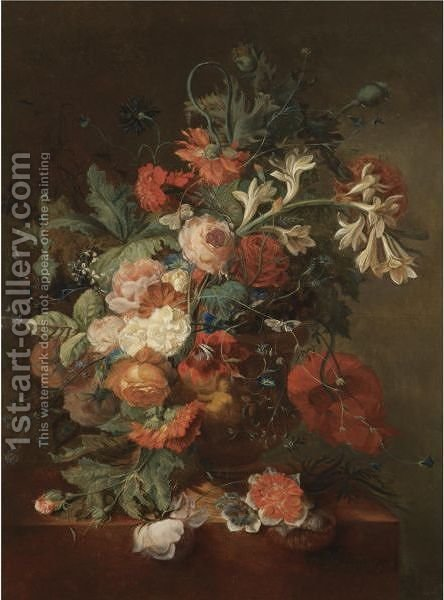 Still Life With Roses, Morning Glory, Orange Blossom And Various Other Flower Together In An Urn On A Stone Ledge by (after) Huysum, Jan van - Reproduction Oil Painting