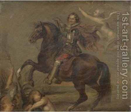 An Equestrian Portrait Of George Villiers, First Duke Of Buckingham (1592-1628) by (after) Sir Peter Paul Rubens - Reproduction Oil Painting