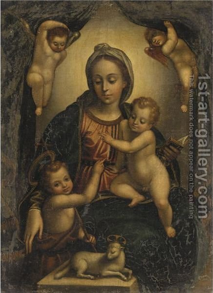 The Madonna And Child With The Infant Saint John The Baptist by (after) Johann Rottenhammer - Reproduction Oil Painting