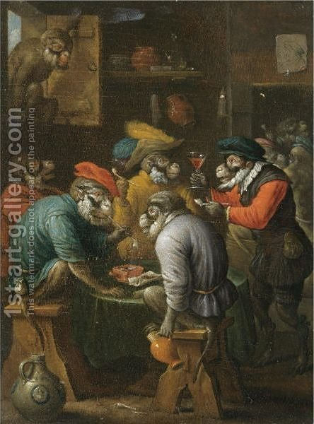 A Singerie Scene With Monkeys Drinking And Smoking In A Tavern Interior by (after)  David The Younger Teniers - Reproduction Oil Painting