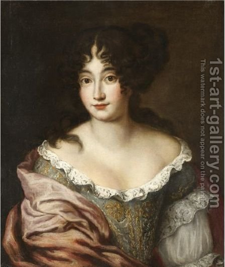 Portrait Of Lady, Half Length, Wearing A Richly Embroidered Dress And A Pink Shawl by (after) Jacob Ferdinand Voet - Reproduction Oil Painting