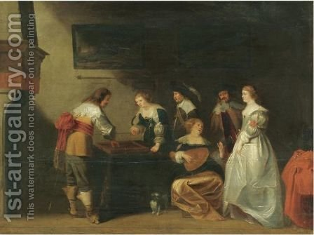 An Elegant Company In An Interior With A Lady And Gentleman Playing Tric-Trac by (after) Christoffel Jacobsz. Van Der Laemen - Reproduction Oil Painting