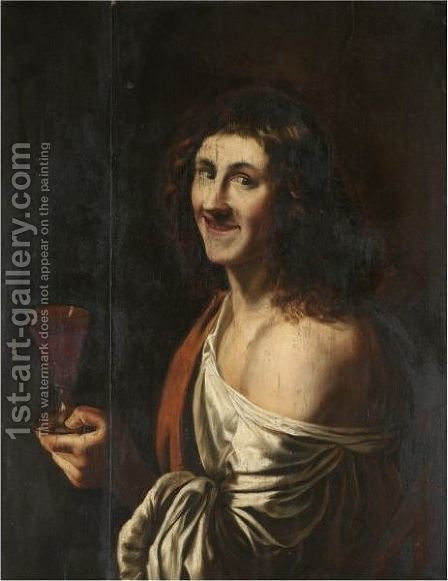 A Man Holding A Glass Of Wine by (after) Christiaen Van Couwenbergh - Reproduction Oil Painting