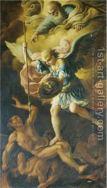 Saint Michael Defeating Satan by (after) Paolo Di Matteis - Reproduction Oil Painting