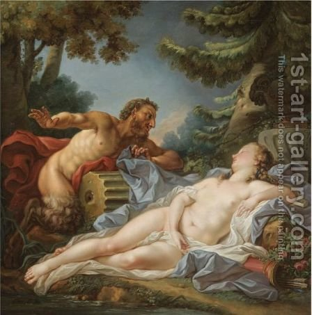 A Satyr Surprising A Sleeping Nymph by (after) Francois Boucher - Reproduction Oil Painting