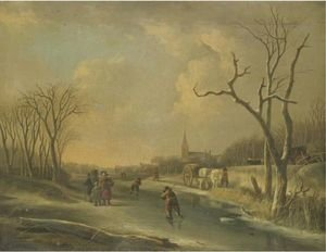 A Winter Landscape With Skaters On A Frozen River, Together With A Family Of Faggot Gatherers