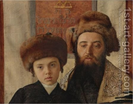 Portrait Of A Rabbi With A Young Pupil by Isidor Kaufmann - Reproduction Oil Painting