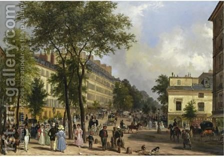 A Boulevard In Paris by Guiseppe Canella - Reproduction Oil Painting