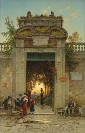 Reproduction oil paintings - Hermann David Solomon Corrodi - On The Via Flaminia Near The Villa Cavalieri