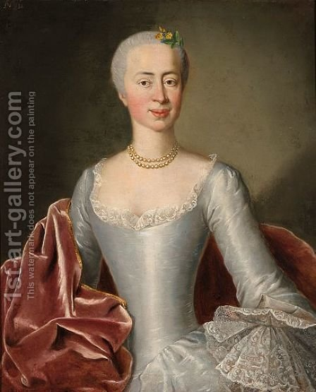 A Half Length Portrait Of A Lady by (after) Pesne, Antoine - Reproduction Oil Painting