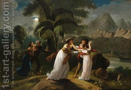 Scene From The Story Of Paul And Virginie by (after) Jean-Frederic Schall - Reproduction Oil Painting