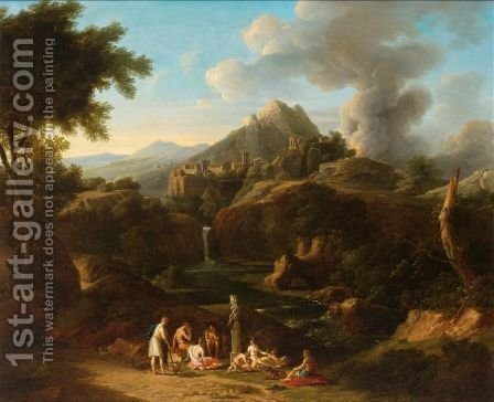 Figures In An Italianate Landscape by Italian School - Reproduction Oil Painting