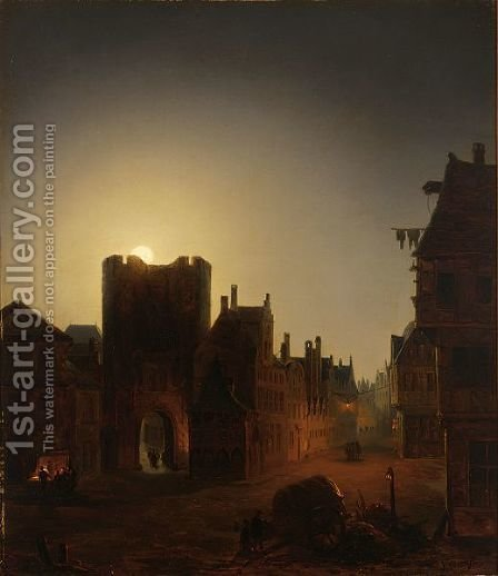 Moonlit Streetscene With Figures by J.J. Verreyt - Reproduction Oil Painting