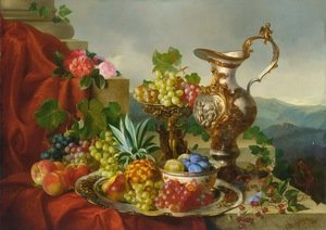 A Still Life With Fruit, Roses And A Pitcher Set On A Marble Ledge