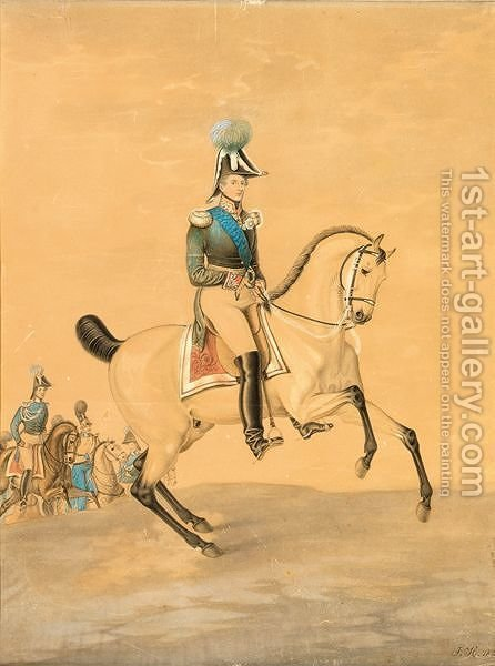 An Officer On Horseback by Hans Von Haberman - Reproduction Oil Painting