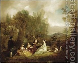 An Arcadian Scene by Henry Andrews - Reproduction Oil Painting