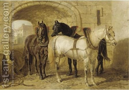 Horses In The Stable Yard by (after) John Frederick Jnr Herring - Reproduction Oil Painting