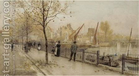 Chelsea Embankment Showing Battersea Old Bridge, Cheyne Walk And Chelsea Old Church by Herbert Menzies Marshall - Reproduction Oil Painting