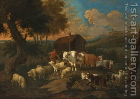 A Peasant With Sheep And Goats Near A Farmstead In A Hilly Summer Landscape by (after) Dirck Van Bergen - Reproduction Oil Painting